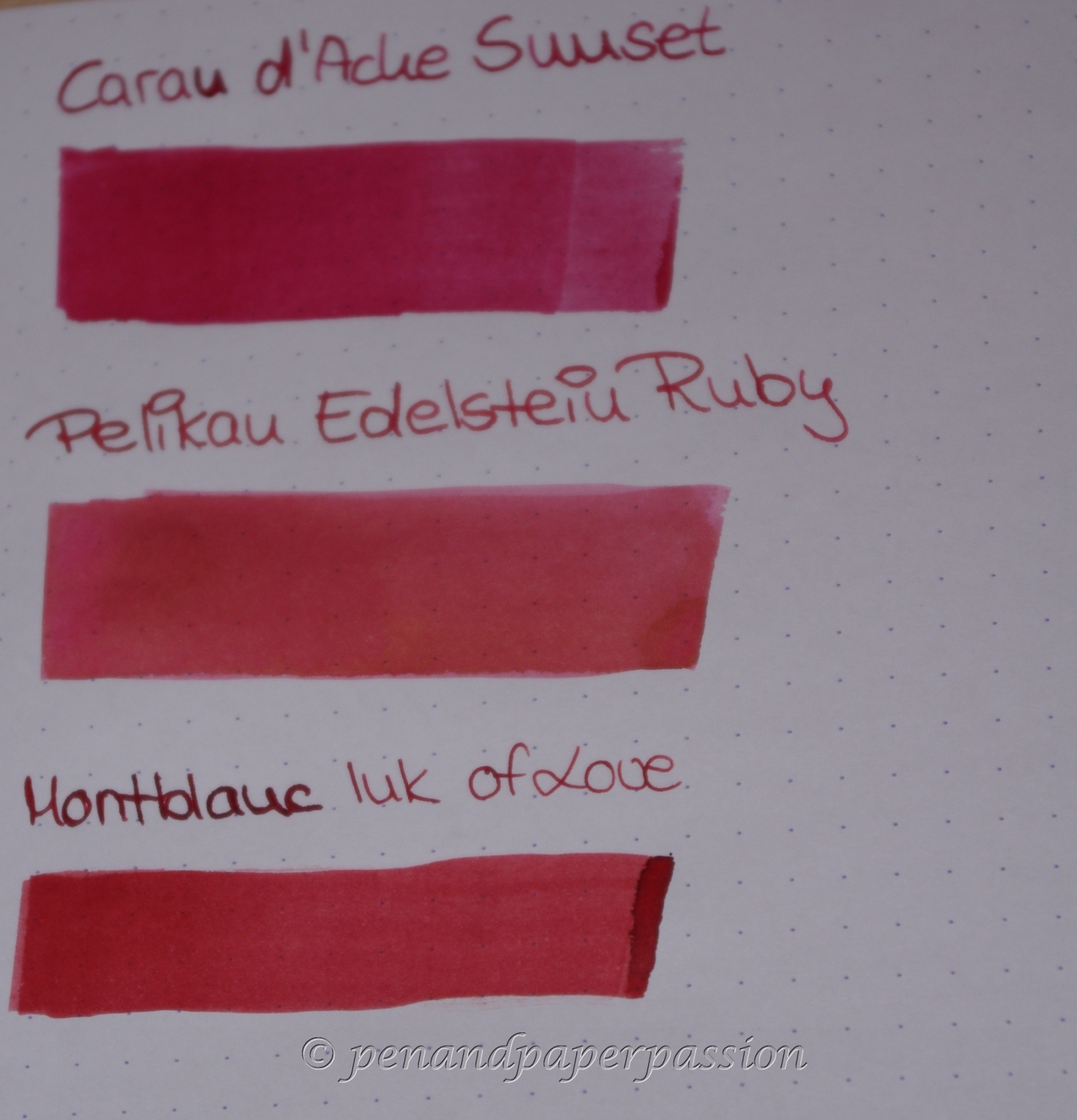 3 Rote - Caran d'Ache Sunset, Pelikan ES Ruby, MB Ink of Love 1