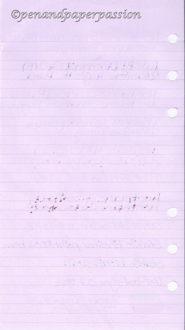 Filofax lavendel Notizpapier hinten