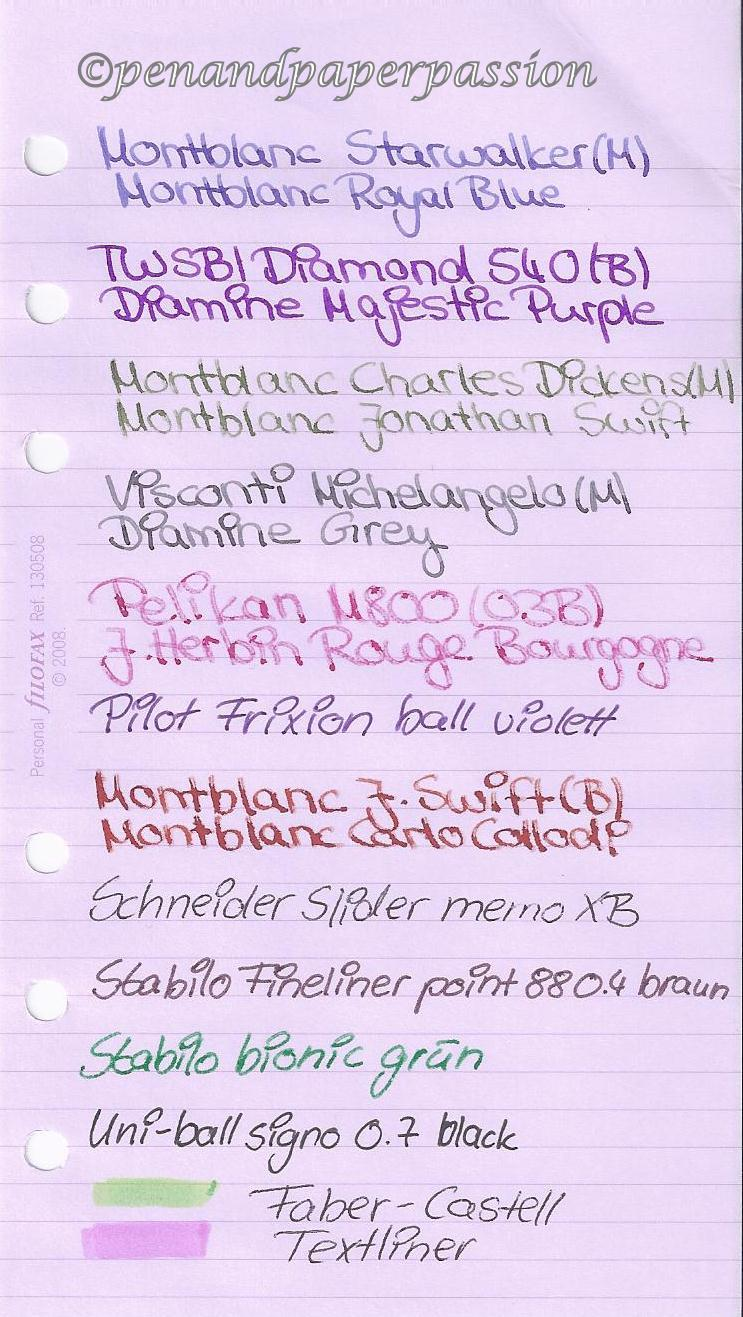 Filofax lavendel Notizpapier vorn