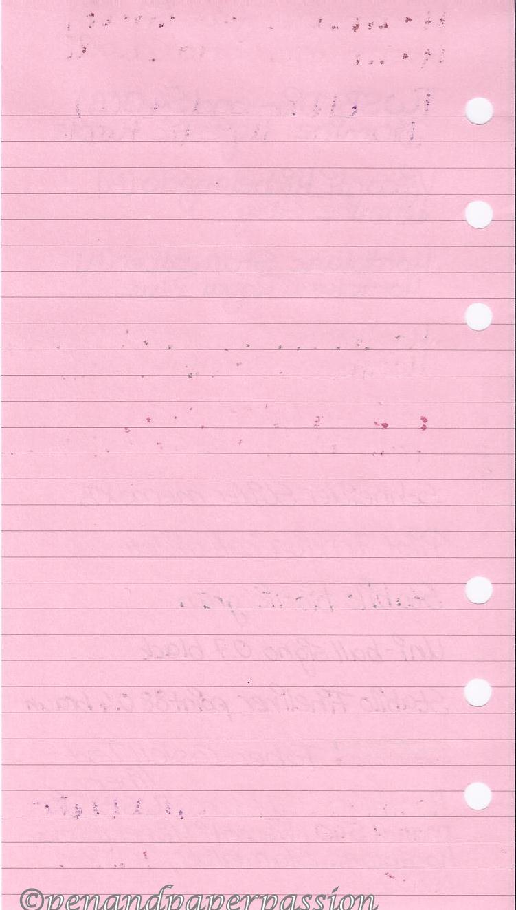 Filofax rosa Notizpapier hinten
