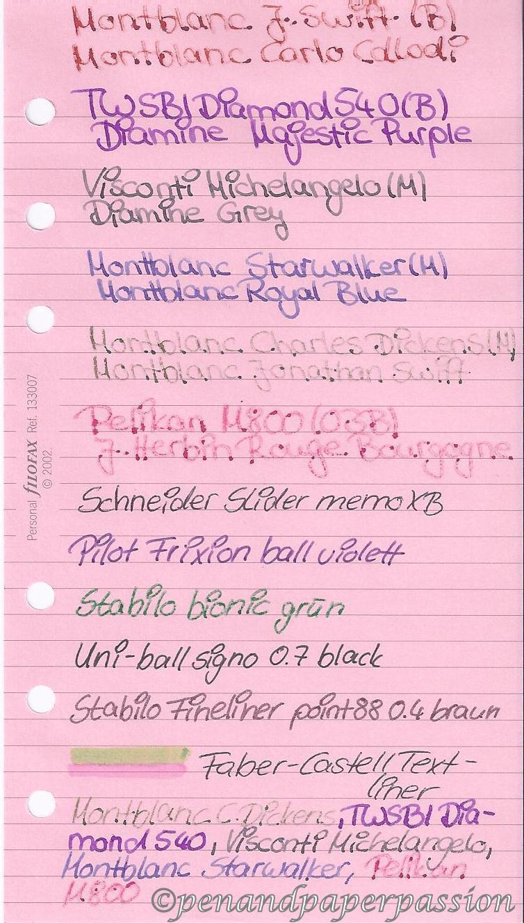 Filofax rosa Notizpapier vorn